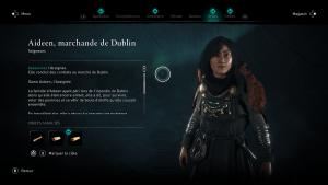 Assassin Creed Valhalla, la colère des druides enfant du danu soluce guide l'araigné, aideen marchande de dublin indice emplacement location cart