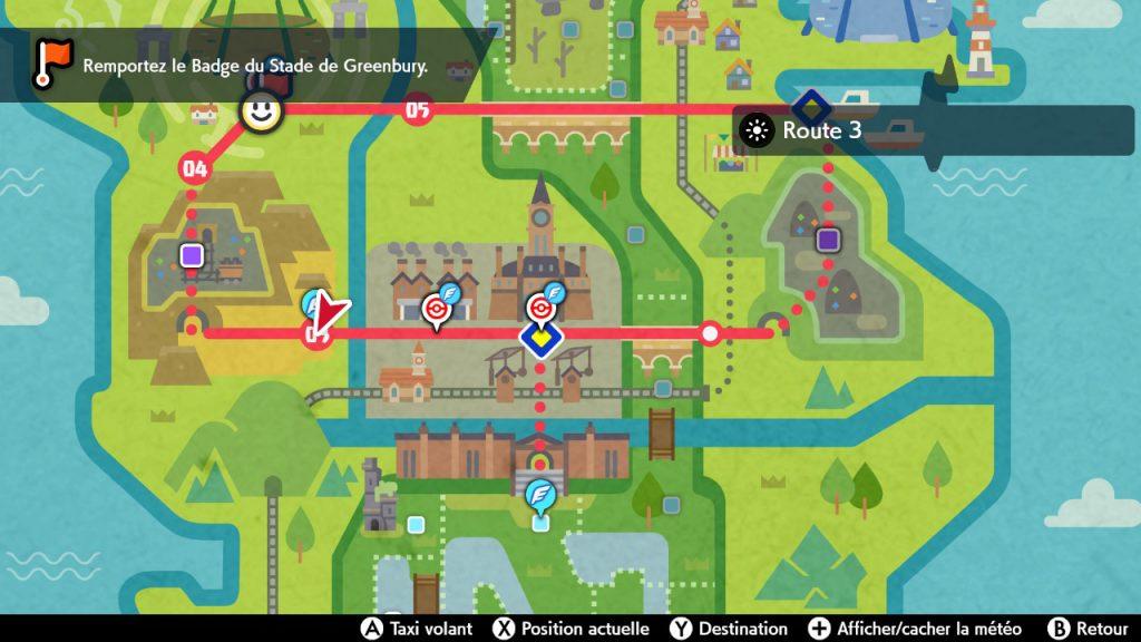 Solution pokémon épée et bouclier route 3 emplacement map carte
