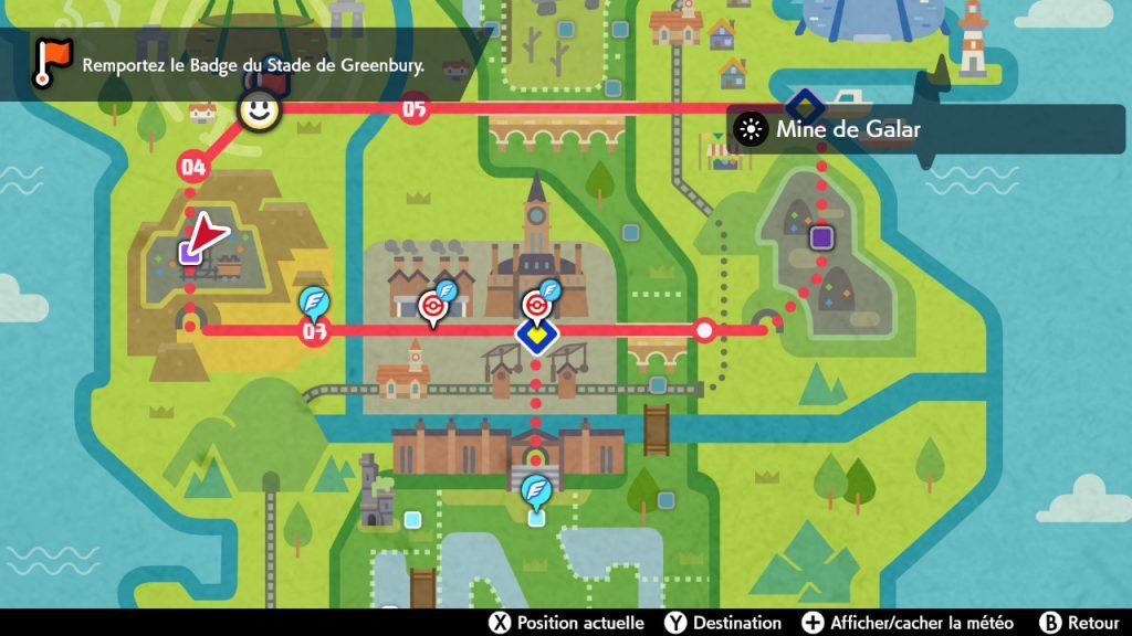 Solution pokemon épée et bouclier, mine de galar emplacement map carte