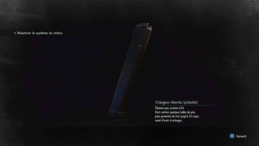 resident evil 3 remake, soluce et guide des armes, chargeur étendu pistolet G19 emplacement