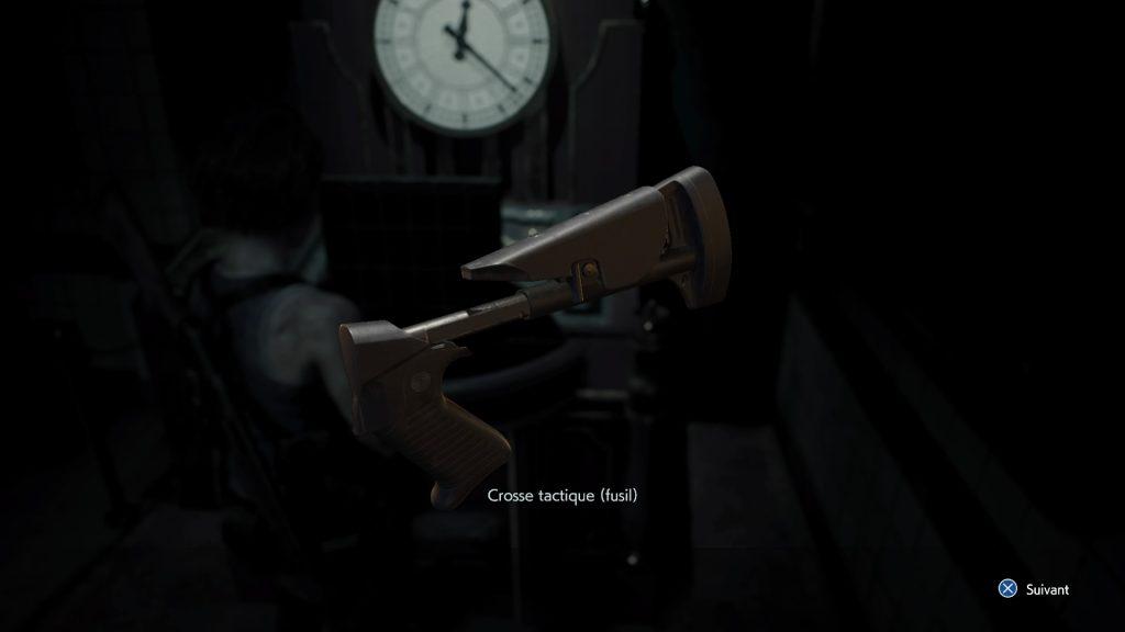resident evil 3 remake, soluce et guide des armes, crosse tactique fusil à pompe M3 emplacement