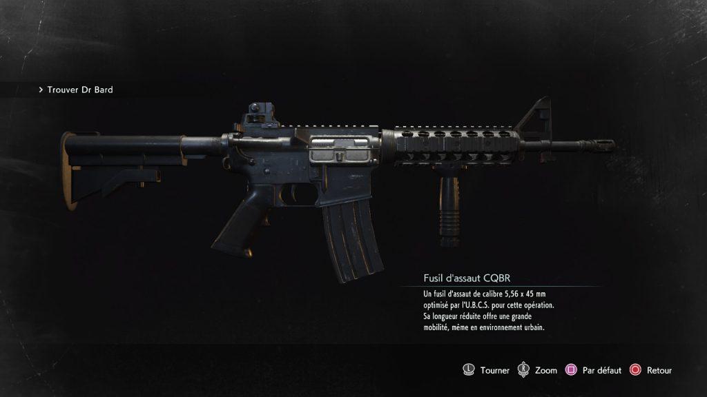 resident evil 3 remake, soluce et guide des arme, fusil d'assaut cqrb emplacement