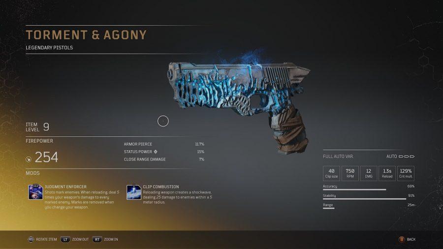 Tourment et agonie - Pistolet légendaire arme légendaire Outriders, soluce, astuce, guide, pc, ps4, ps5, xbox, bonus d'arme