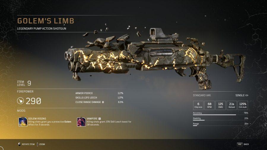 Golem's Limb - Fusil à pompe légendaire arme légendaire Outriders, soluce, astuce, guide, pc, ps4, ps5, xbox, bonus d'arme
