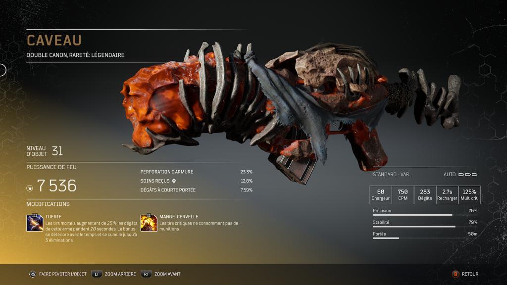 Caveau , amber vault - Double pistolet légendaire arme légendaire Outriders, soluce, astuce, guide, pc, ps4, ps5, xbox, bonus d'arme