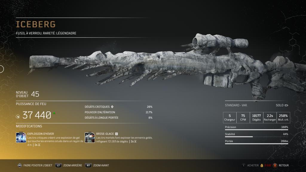 iceberg - Carabine à verrou légendaire arme légendaire Outriders, soluce, astuce, guide, pc, ps4, ps5, xbox, bonus d'arme