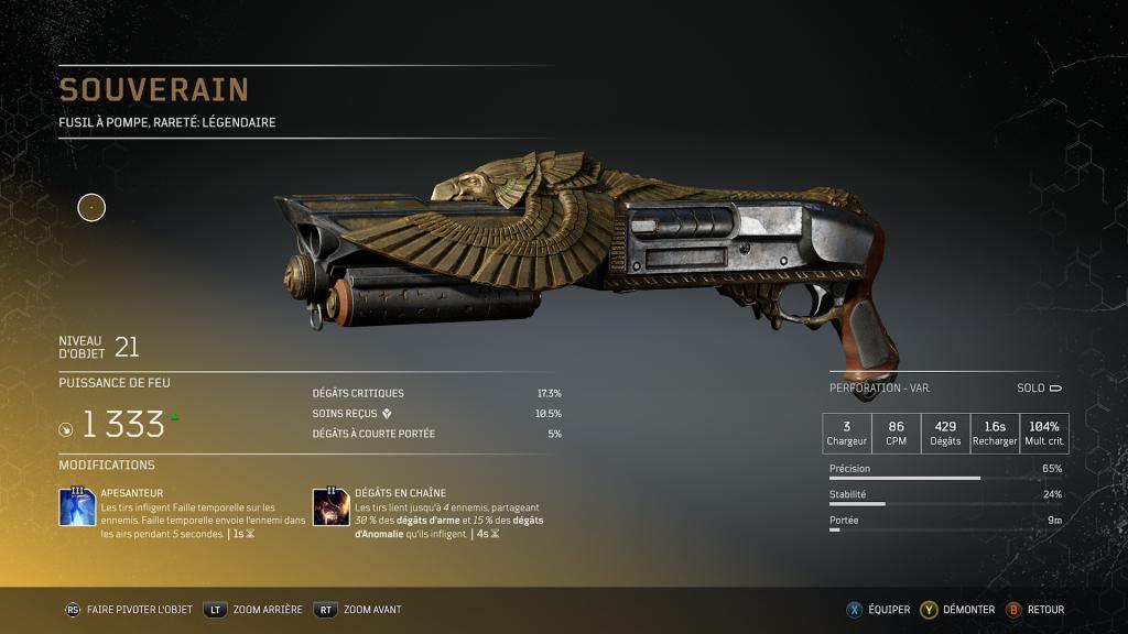 souverain aeri master - Fusil à pompe légendaire arme légendaire Outriders, soluce, astuce, guide, pc, ps4, ps5, xbox, bonus d'arme