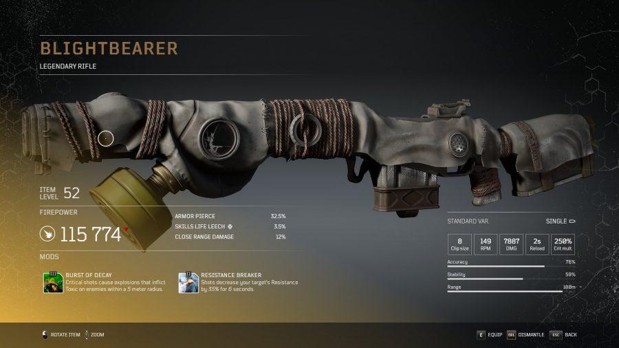 Blightbearer - Fusil légendaire Outriders, soluce, astuce, guide, pc, ps4, ps5, xbox, bonus d'arme