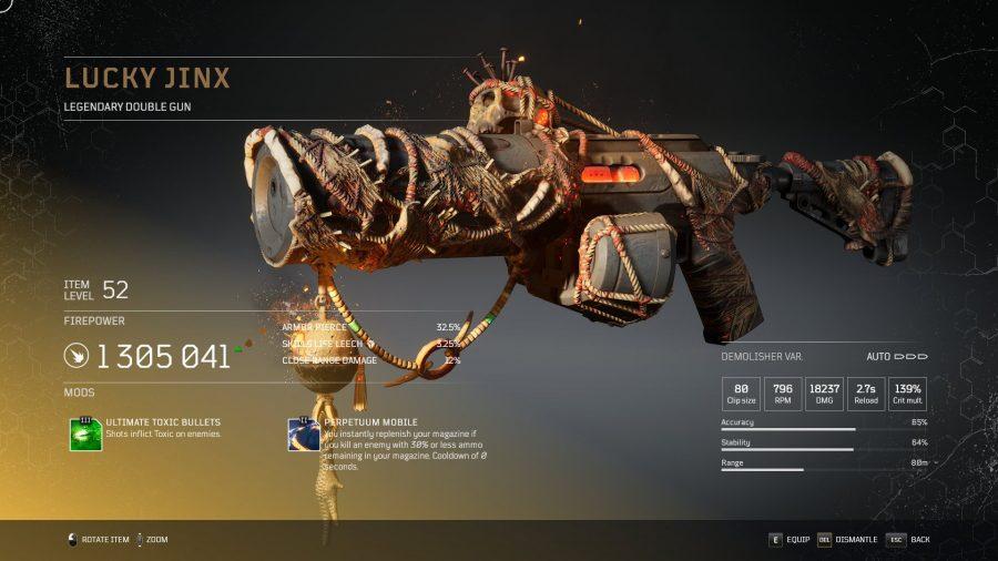 Jinx chanceux - Double pistolet légendaire arme légendaire Outriders, soluce, astuce, guide, pc, ps4, ps5, xbox, bonus d'arme