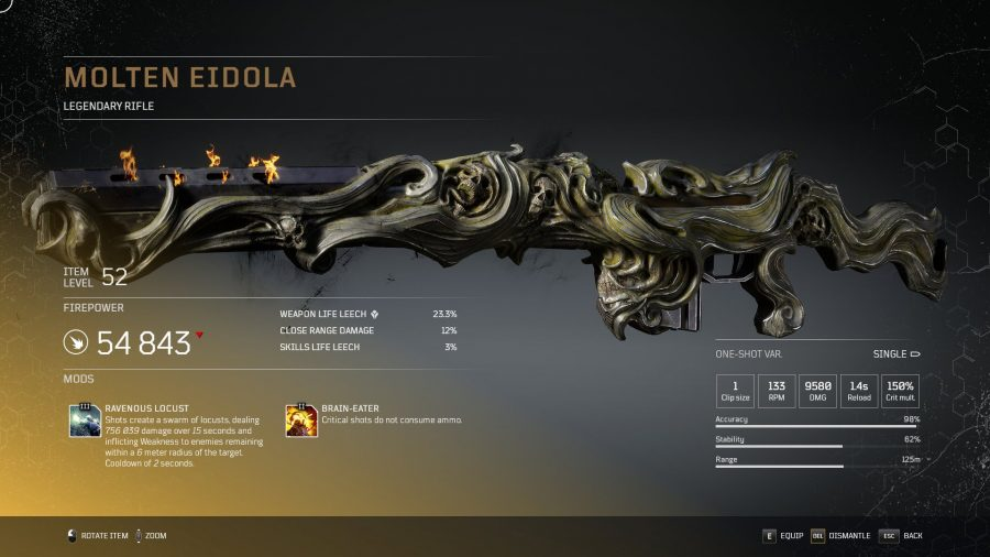 Molten Eidola - Fusil légendaire arme légendaire Outriders, soluce, astuce, guide, pc, ps4, ps5, xbox, bonus d'arme
