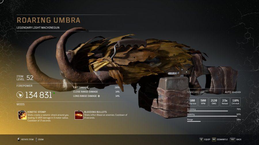 Umbra rugissant-  Mitrailleuse légère légendaire arme légendaire Outriders, soluce, astuce, guide, pc, ps4, ps5, xbox, bonus d'arme