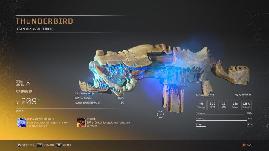 Thunderbird - Fusil d'assaut légendaire Outriders, soluce, astuce, guide, pc, ps4, ps5, xbox, bonus d'arme