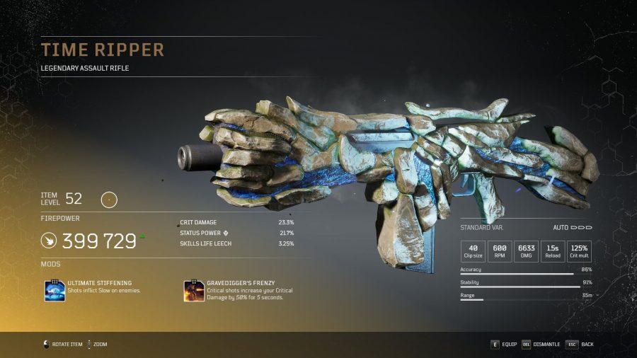 Time rippper - Fusil d'assaut légendaire  Outriders, soluce, astuce, guide, pc, ps4, ps5, xbox, bonus d'arme