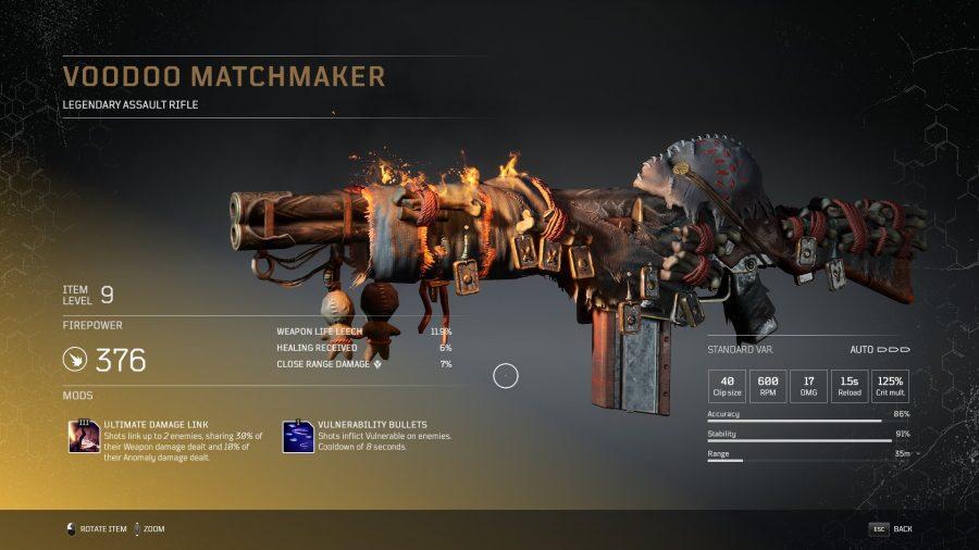 Matchmaker Vaudou - Fusil d'assaut légendaire Outriders, soluce, astuce, guide, pc, ps4, ps5, xbox, bonus d'arme